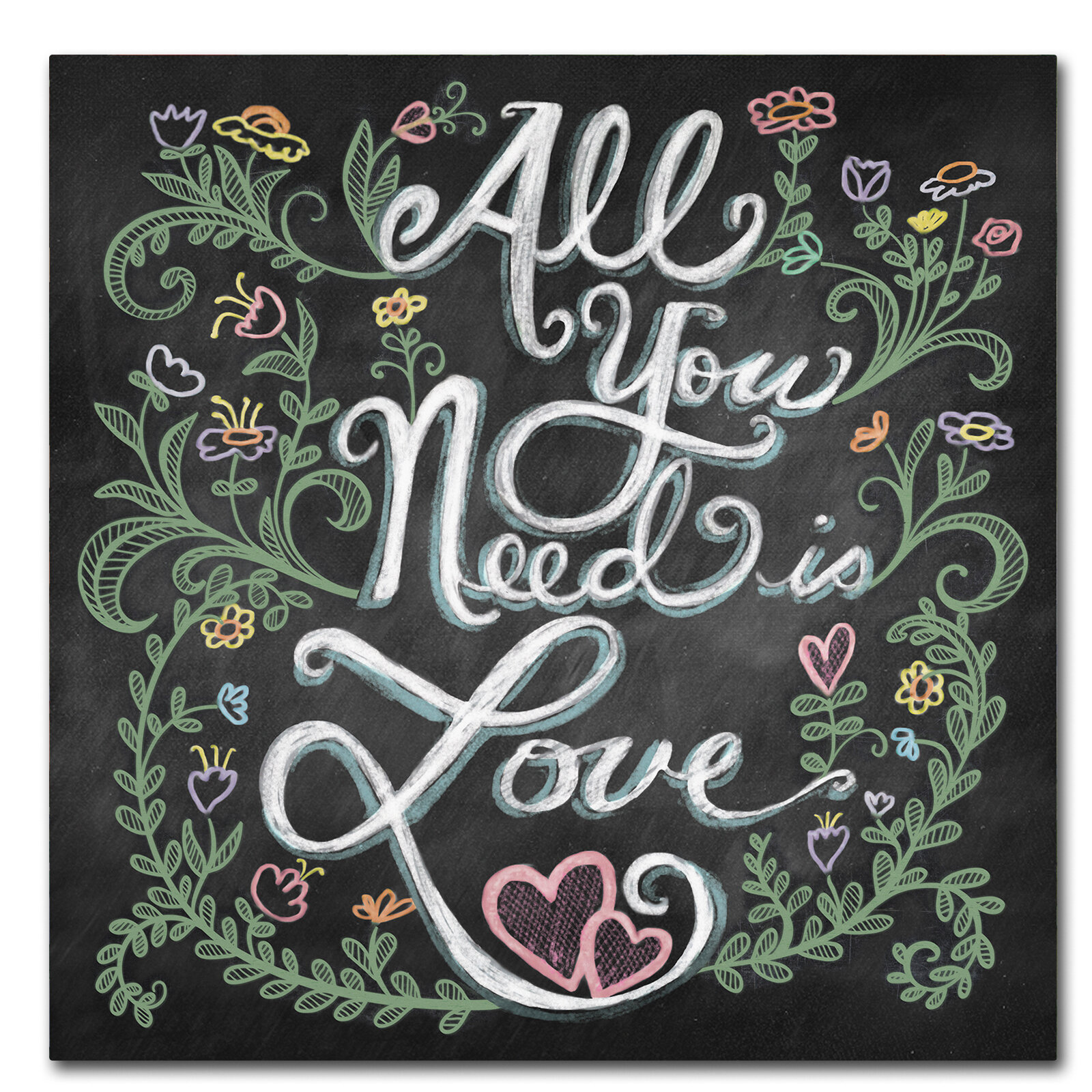 Trademark Art All You Need Is Love Textual Art Print On Wrapped Canvas Wayfair