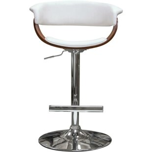 Raeann Leatherette Upholstered Adjustable Height Bar Stool by Orren Ellis