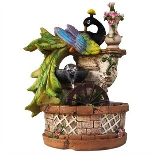 Sintechno Resin Elegant Peacock Resting on Ivy Column with Water Wheel Tabletop Fountain