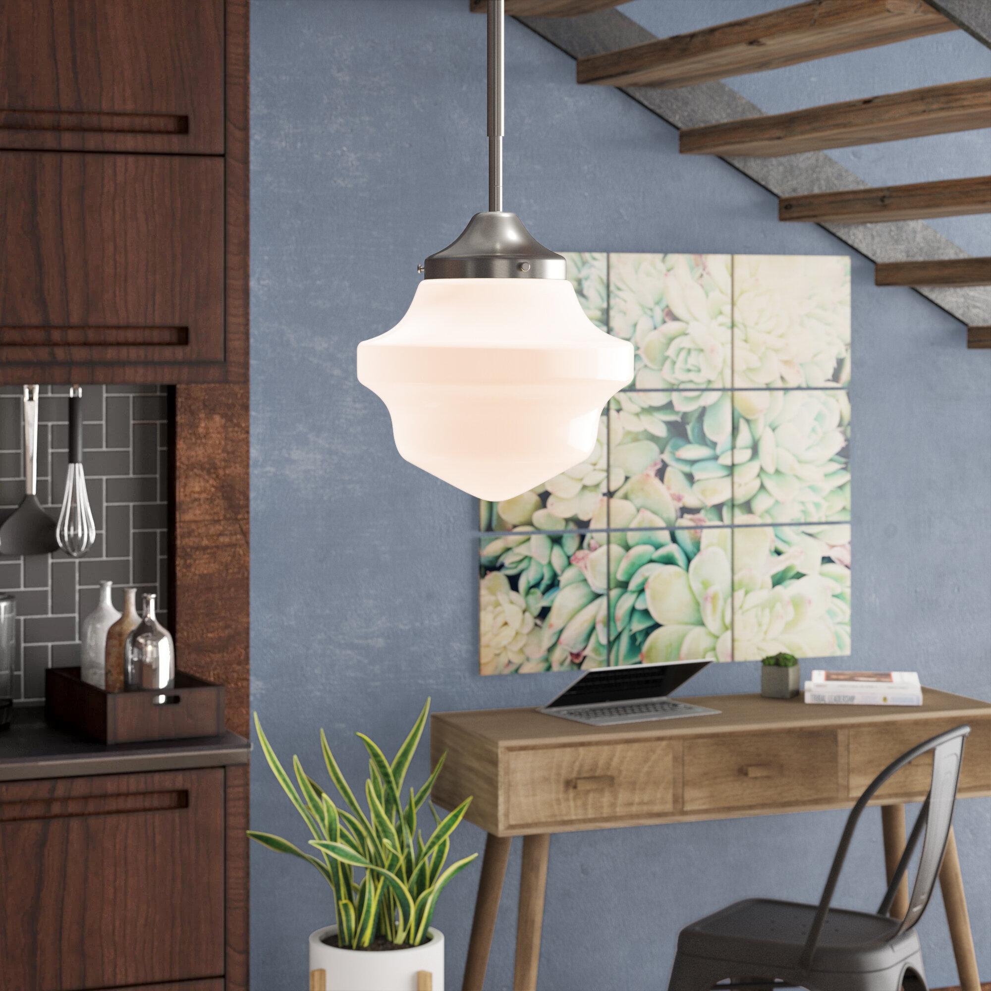 Image of: Ebern Designs Barbera 1 Light Single Schoolhouse Pendant Reviews Wayfair