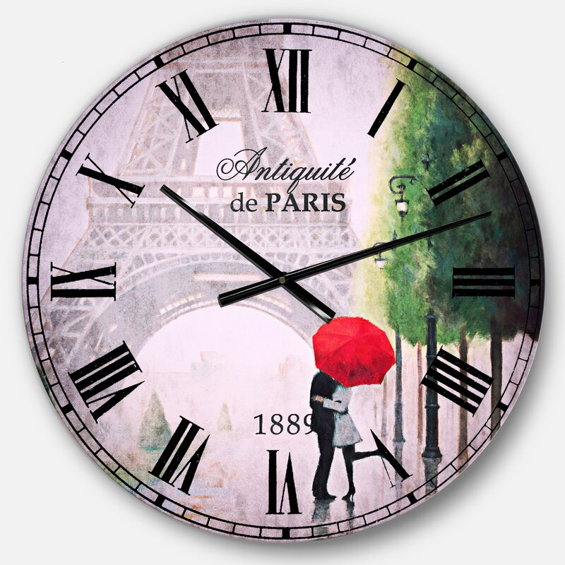 East Urban Home Paris Romance Couples Iii French Wall Clock Wayfair