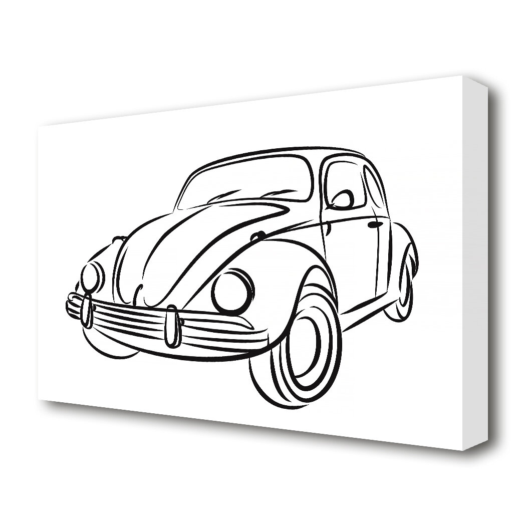 East Urban Home Vw Beetle Outline Transport Drawing Print On Canvas