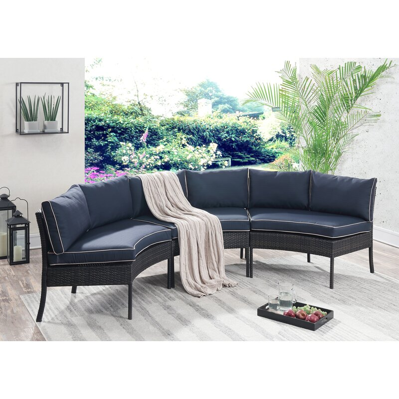 Beau Petunia Circular Patio Sectional With Cushions