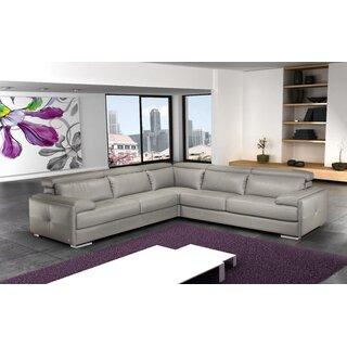 Argie Leather Symmetrical Sectional by Orren Ellis SKU:CA343800 Buy