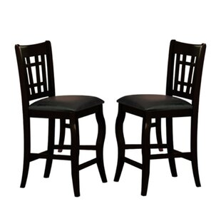 Nixon Wooden Counter Height with Designer Back Upholstered Dining Chair (Set of 2)