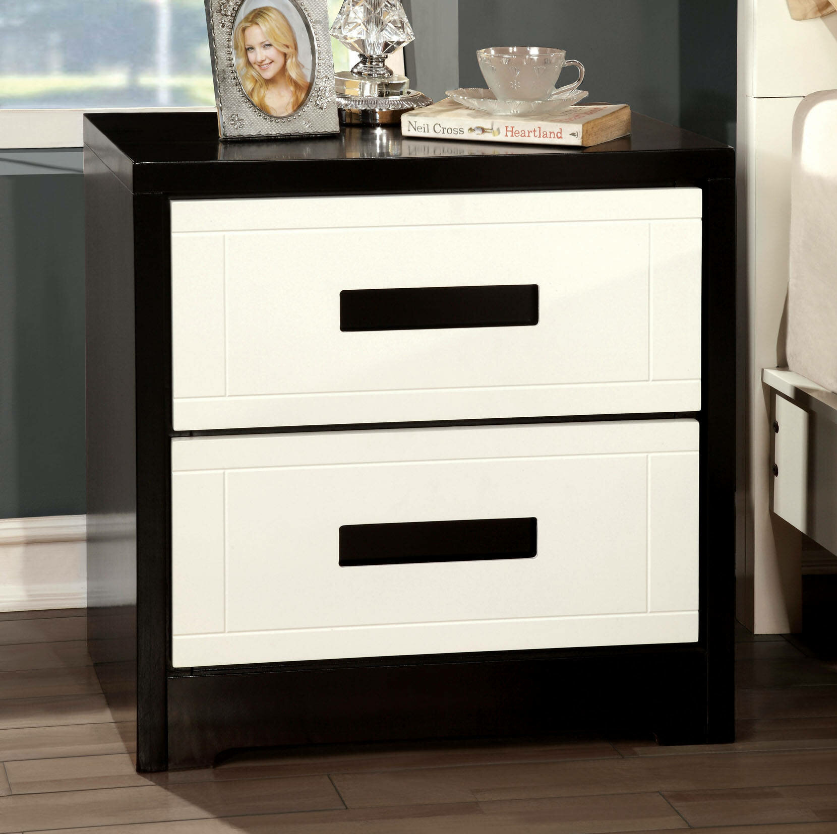 Latitude Run Arcangelina 2 Drawer Nightstand In White Black Wayfair