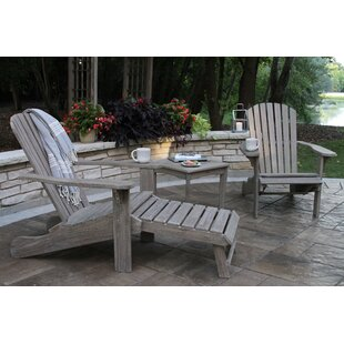 Guildford Eucalyptus Adirondack Chair (Set of 2) with Ottoman