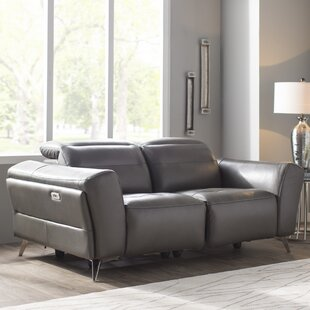 Paille Leather Reclining Loveseat