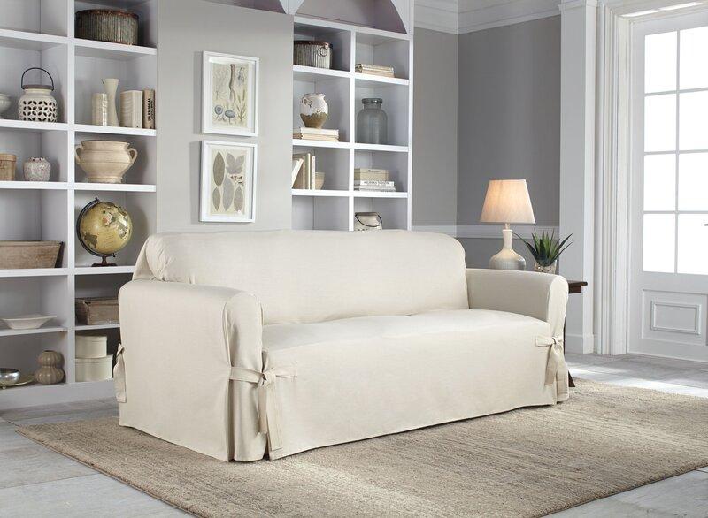 Wondrous Cotton Duck Box Cushion Sofa Slipcover Interior Design Ideas Grebswwsoteloinfo
