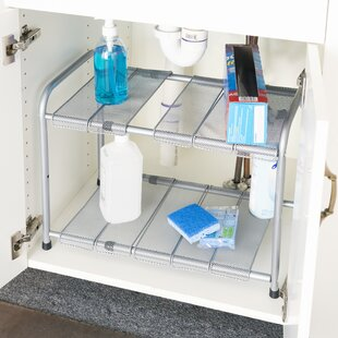 Home Basics 2 Tier Expandable Under Sink Kitchen Shelving Rack