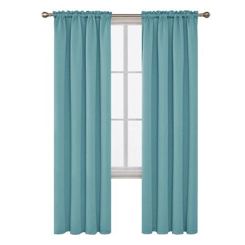 Jarmericus Blackout Thermal Curtains Mercury Row Panel Size: 132 W x 242 D cm, Colour: Sky Blue