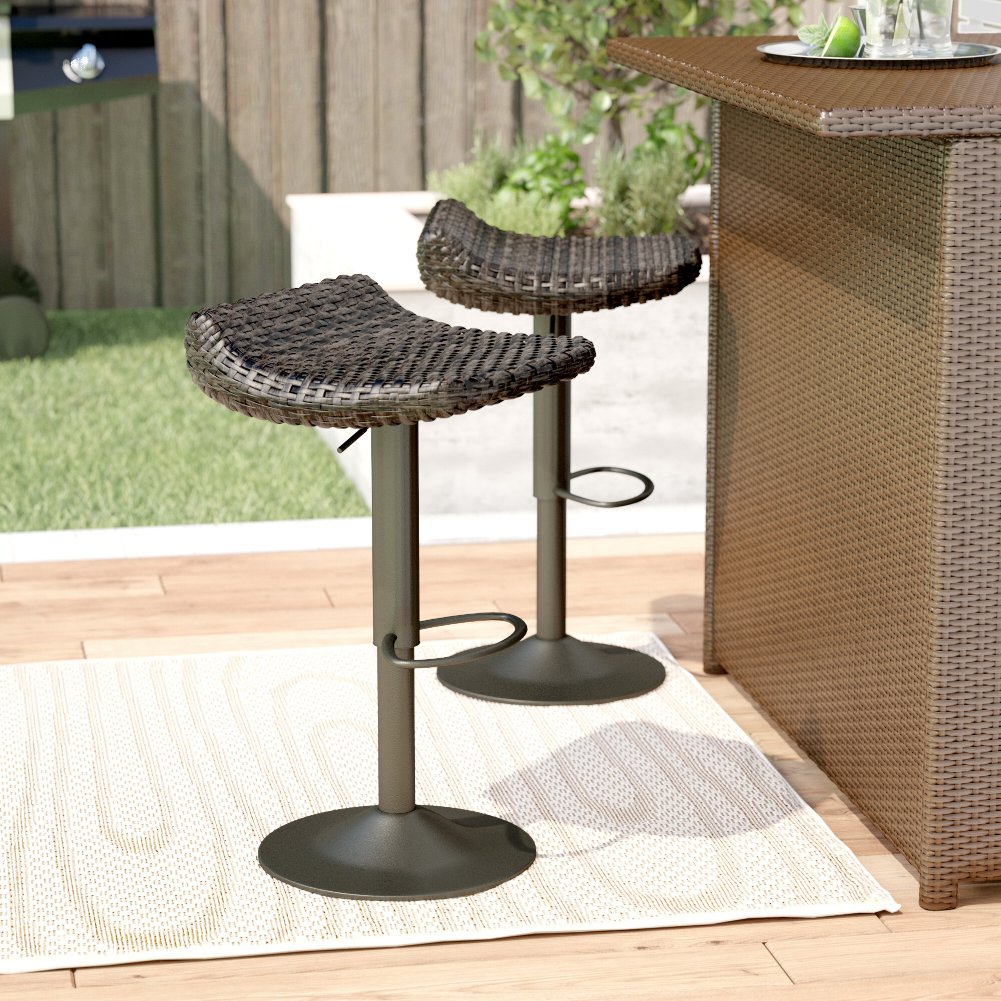 Image of: Wade Logan Castelli 34 Patio Bar Stool Reviews Wayfair