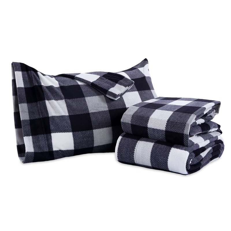 Cuddl Duds Micro Fleece 2 Standard Pillowcases BUFFALO PLAID New Soft Warm