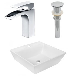 Best Deals Ceramic Square Vessel Bathroom Sink with Faucet By American Imaginations