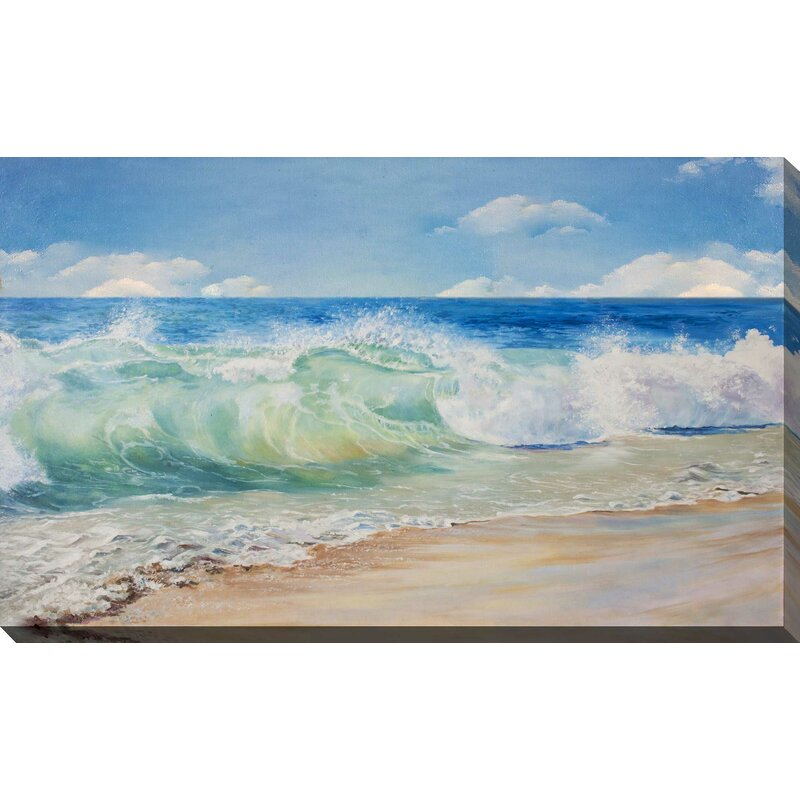 Highland Dunes Painted Waves On Beach Graphic Art Print On Wrapped Canvas Reviews Wayfair