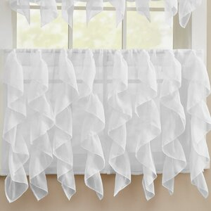 Chic Sheer Voile Vertical Ruffle Window Kitchen Tier Curtain (Set of 2)