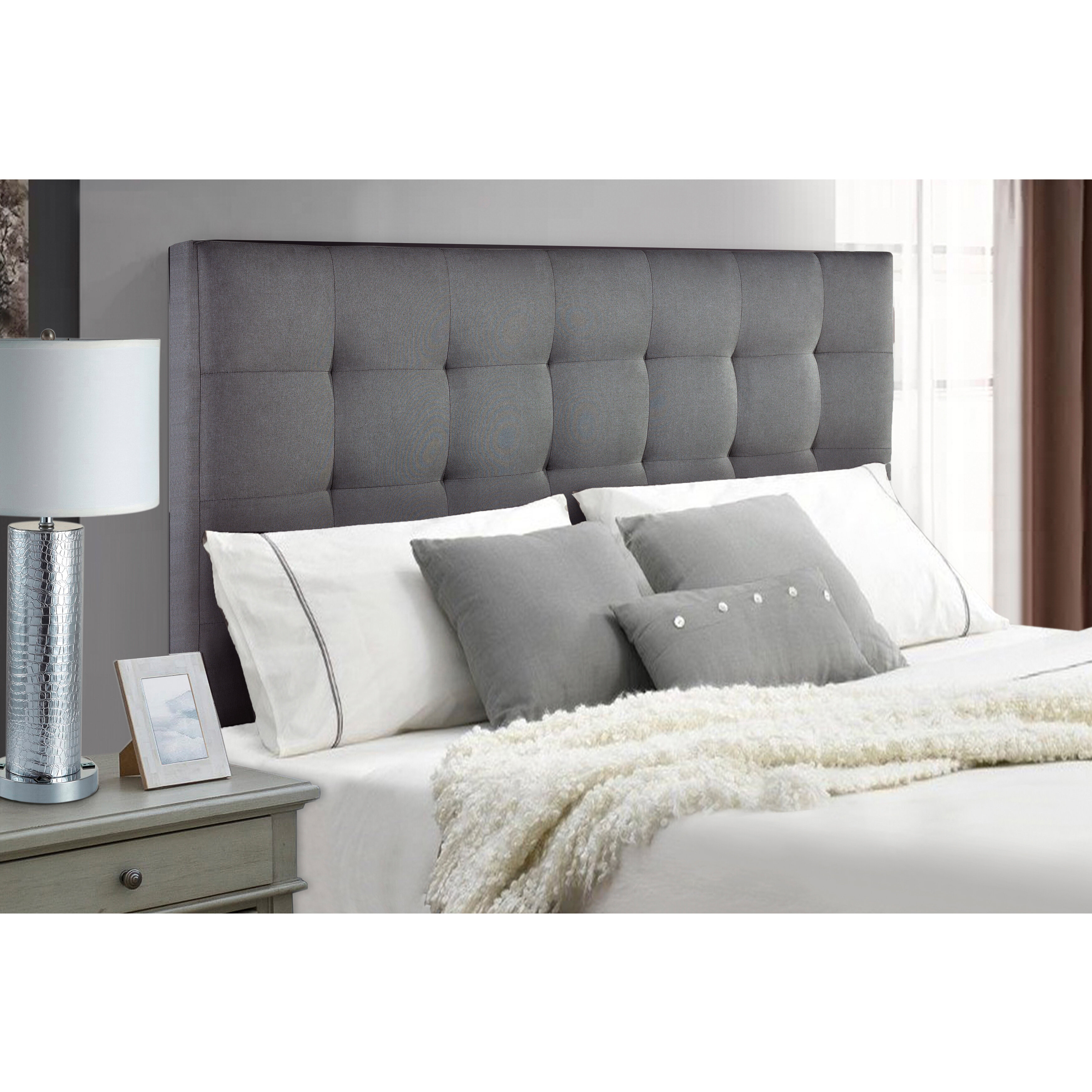 Adjustable Upholstered Panel Headboard Button Tufted Light Gray Queen Size