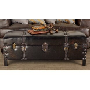 Cole & Grey Wood and Leather Storage Bench