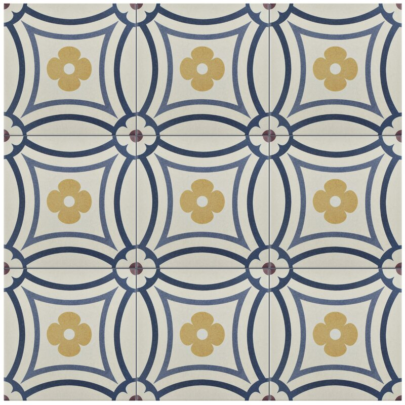 "Grotta 7.88"" x 7.88"" Porcelain Field Tile in White/Blue"