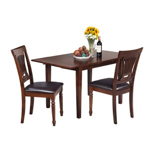 Assante 3 Piece Solid Wood Dining Set with Rectangular Table by Alcott Hill