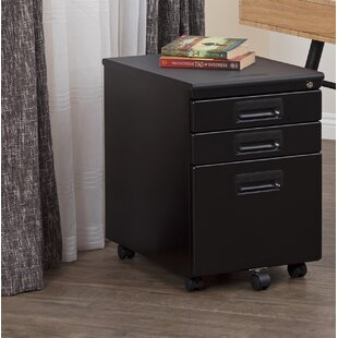Metal Rolling 3-Drawer Vertical Filing Cabinet