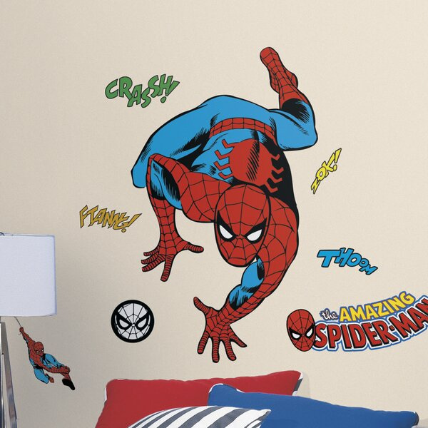 SPIDERMAN LARGE PEEL N STICK BEDROOM WALL DECAL DECORATION NEW 21.5 X 14