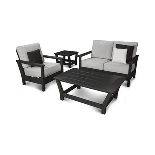 Harbour 4 Piece Sunbrella Sofa Set with Cushions by POLYWOOD?