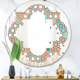 Hexagon Pattern III Quatrefoil Eclectic Frameless Wall Mirror