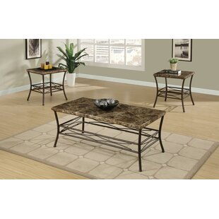 Canisteo Faux Marble Top 3 Piece Coffee Table Set by Fleur De Lis Living