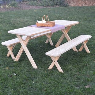 Loon Peak Zirkel Pine Cross-leg Picnic Table with 2 Benches