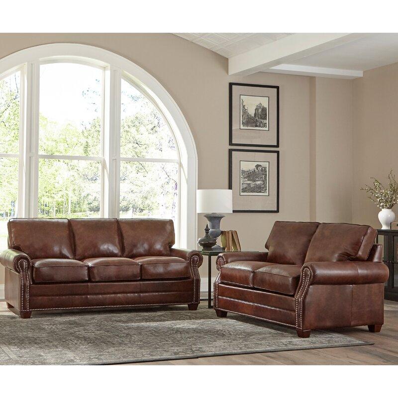 17 Stories Lyndsey 2 Piece Leather Sleeper Living Room Set