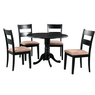Brompton 5 Piece Drop Leaf Solid Wood Dining Set