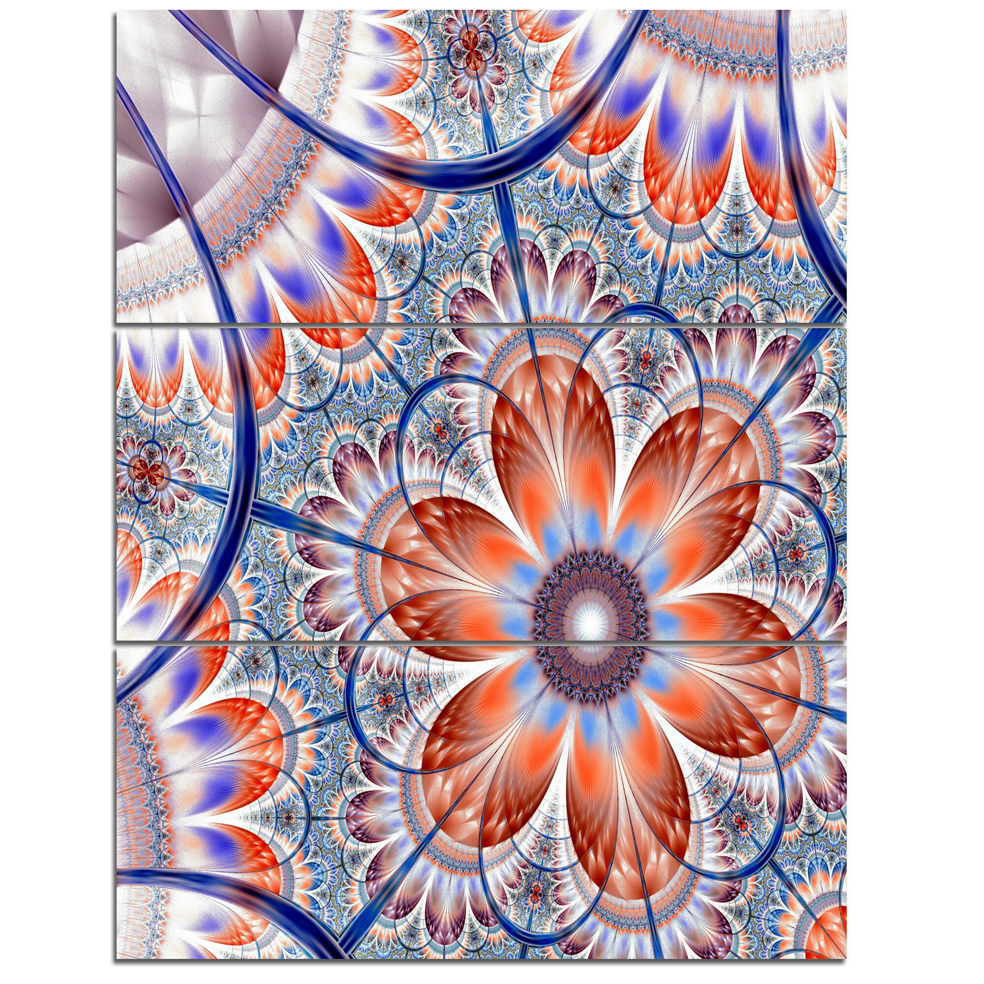 Designart Brown And Blue Large Fractal Flower 3 Piece Graphic Art On Wrapped Canvas Set Wayfair
