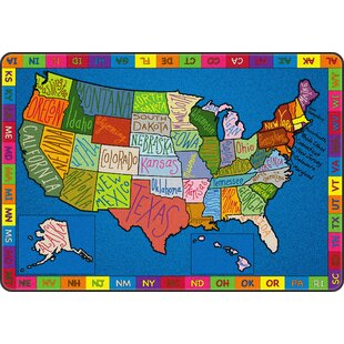 Buy luxury My America Doodle Map Blue/Green Area Rug ByFlagship Carpets