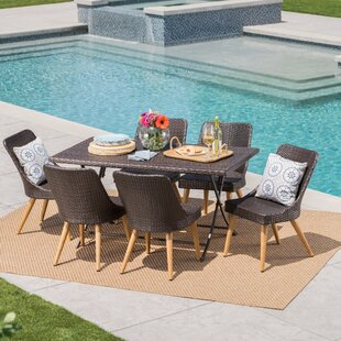 Bart Outdoor Wicker 7 Piece Dining Set