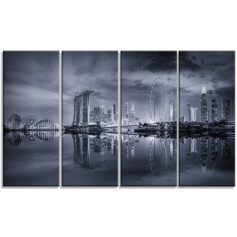 Designart Black And White Singapore Skyline Photographic Print Multi Piece Image On Wrapped Canvas Wayfair