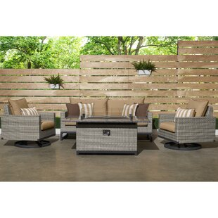 Wade Logan Minor Motion 4 Piece Rattan Sunbrella Sofa Set with Cushions