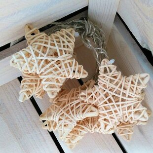 The Holiday Aisle Woven Stars 20 Warm LED Light Garland