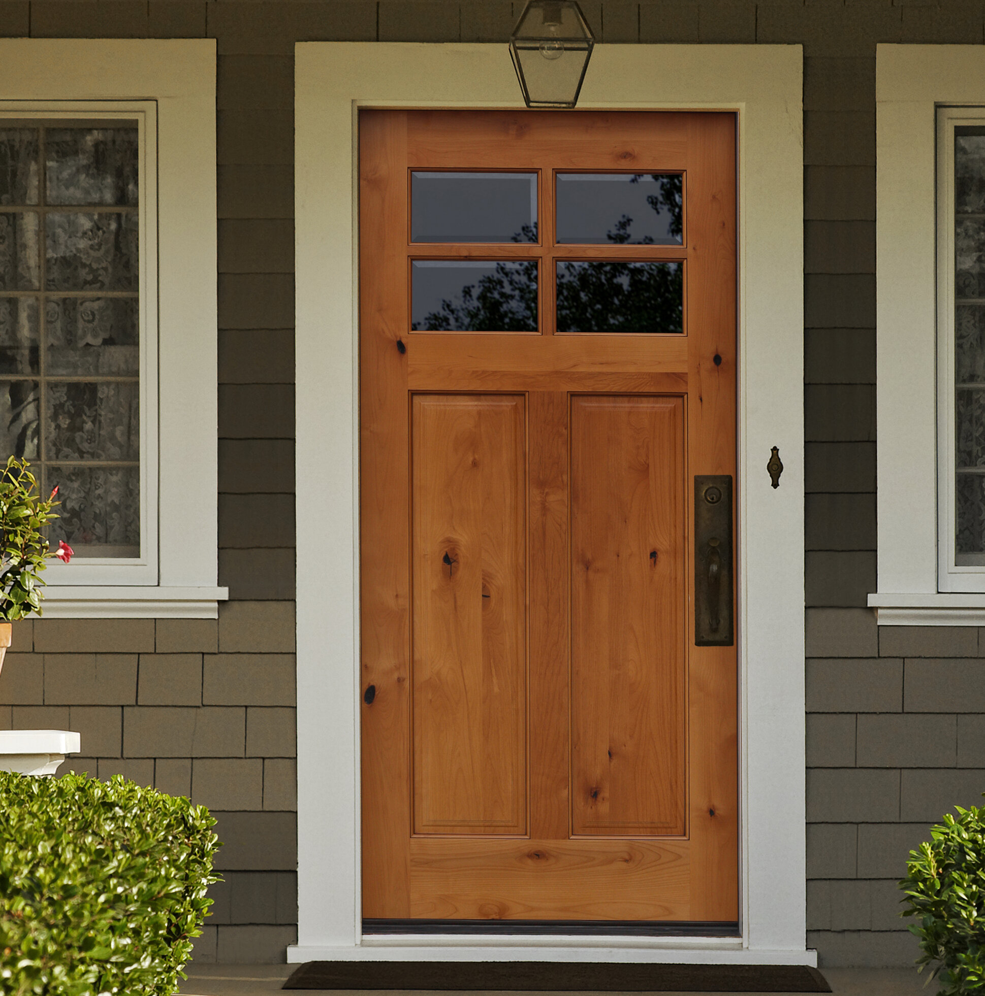 Beau Shaker Craftsman 4 Lite Beveled Ready To Install Wood Prehung Front Entry  Door