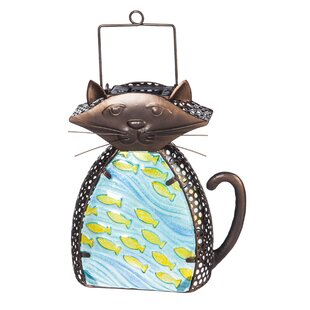 Cat Glass Brown/Yellow Solar Powered LED Outdoor Lantern By Evergreen Enterprises, Inc