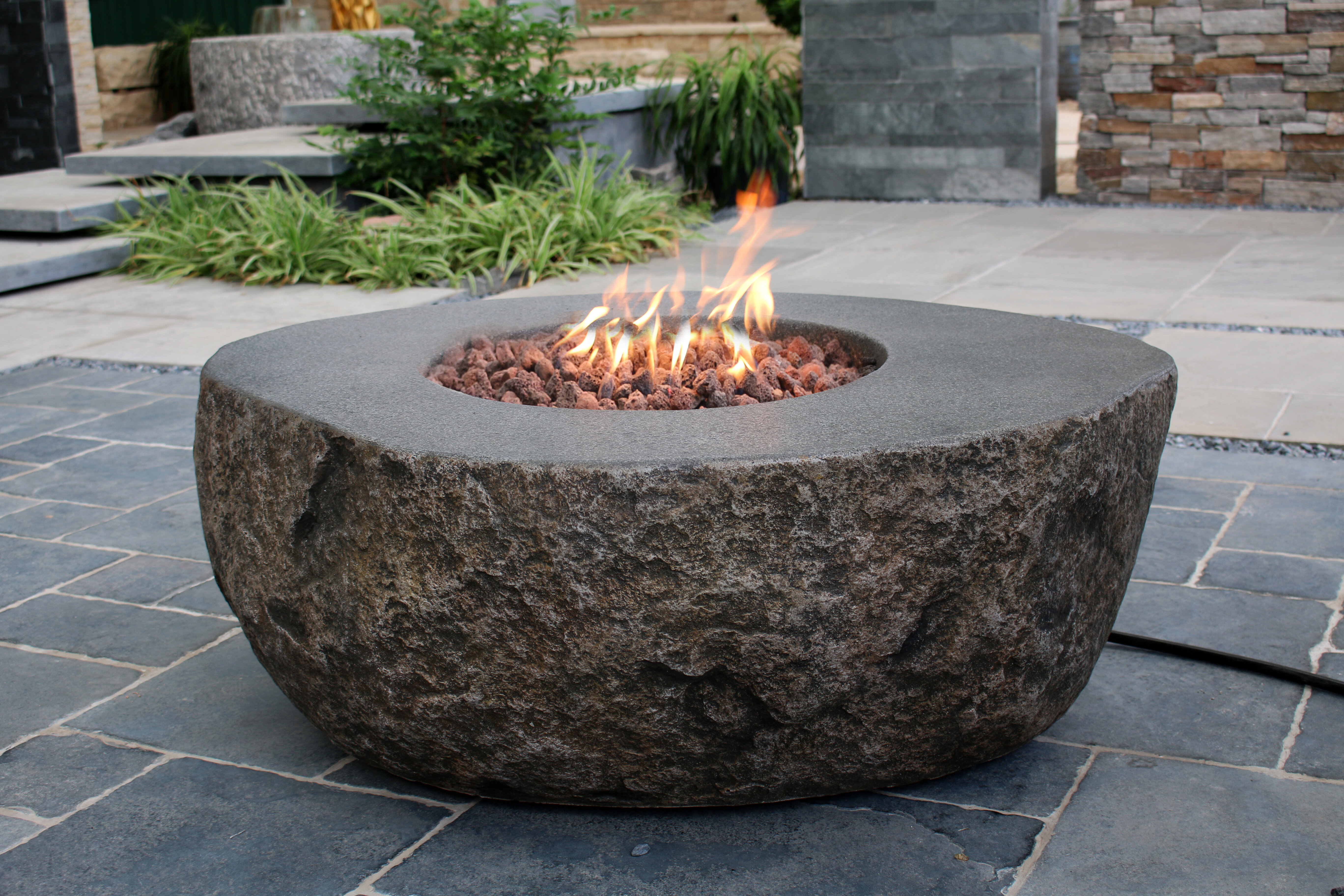 Outstanding Fiery Rock Concrete Propane Natural Gas Fire Pit Table Download Free Architecture Designs Pushbritishbridgeorg
