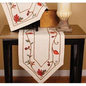 Harvest Vine Crewel Embroidered Table Runner