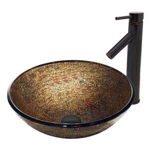 VIGO Textured Copper Glass Circular Vessel Bathroom Sink with Faucet