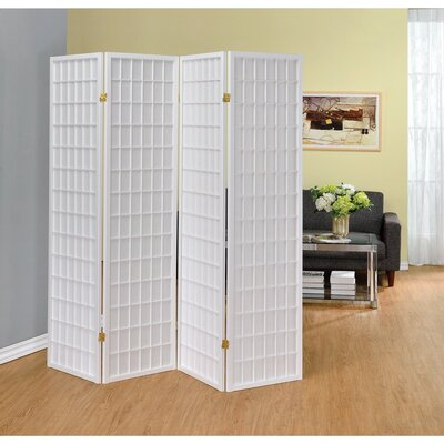 Ebern Designs Miconi 4 Panel Room Divider Color: White