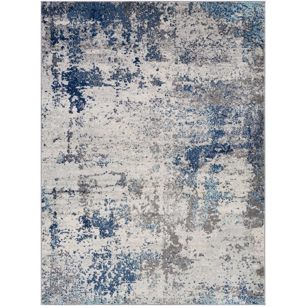 Barrick Abstract Gray Blue Area Rug