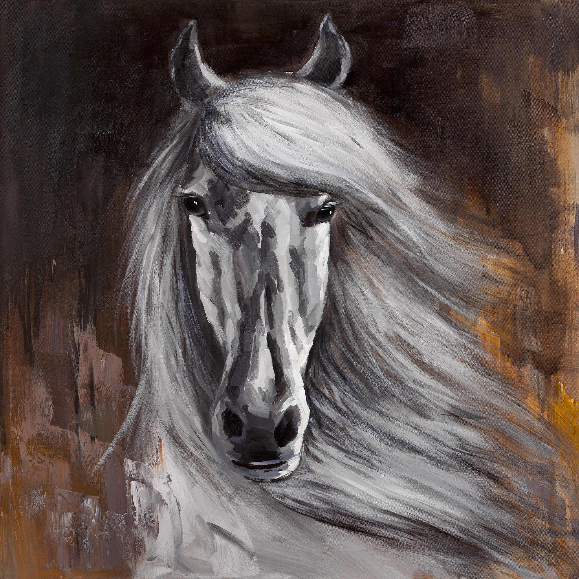 Millwood Pines Proud White Horse Oil Painting Print On Canvas