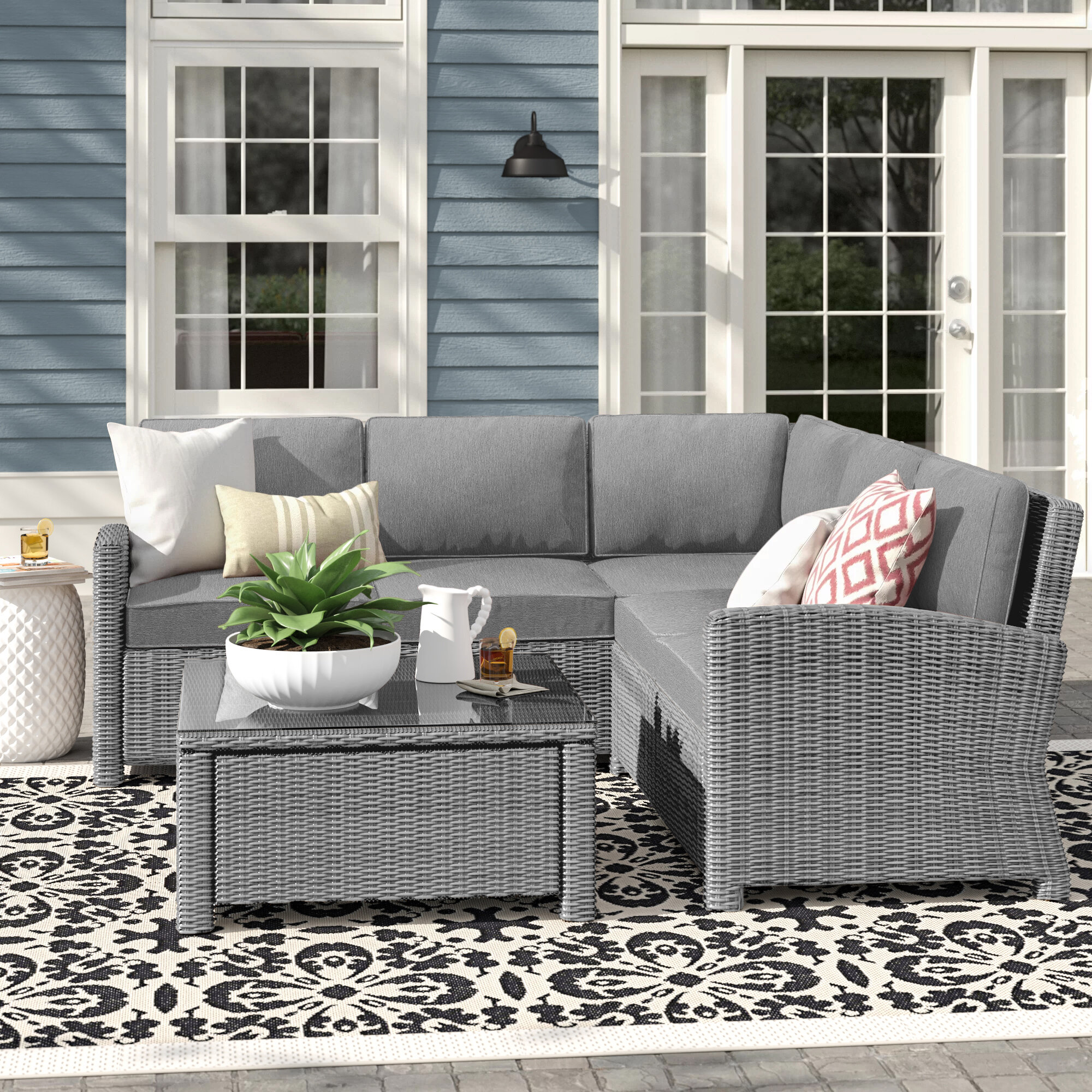 Lawson 4 Piece Rattan Sectional Seating Group With Cushions Reviews Birch Lane