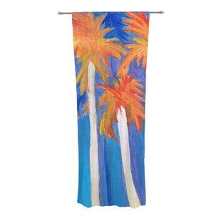 Florida Autumn Nature Floral Semi Sheer Curtain Panels Set Of 2