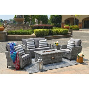 Creekmore 5 Piece Rattan Sofa Seating Group with Cushions