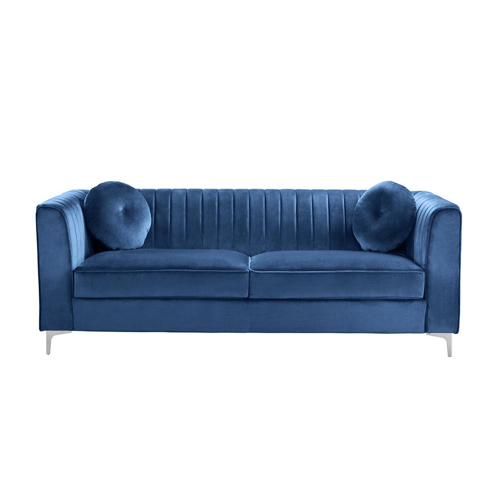 Willa Arlo Interiors Mishti 86 Velvet Tuxedo Arm Sofa Reviews Wayfair